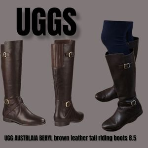 UGG AUSTRLAIA BERYL Brown leather tall riding boots allows wide calf boots 8.5